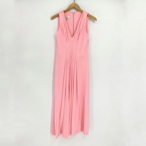 Vintage Pink Sleevelss V Neck Maxi Dress